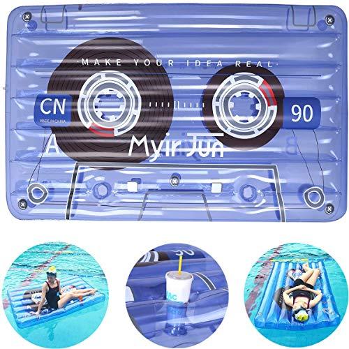 Myir JUN Cinta de Audio Hinchable Gigante con 2 Posavasos, Flotador Piscina Transparente Colchoneta Piscina Inflable para...