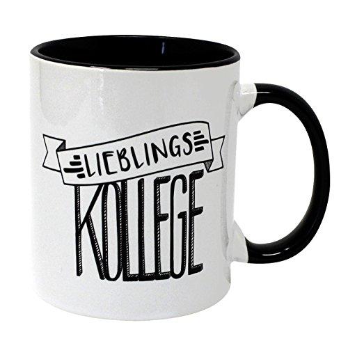 Close Up Lieblingskollege Tasse - weißer Kaffeebecher aus Keramik, Henkel und Innenseite schwarz - Geschenk für Kollegen & Mitarbeiter | Premium Becher