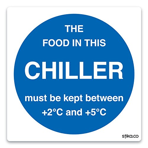 Chiller Temperature Sticker - Food Storage Signs - (100mm x 100mm) by stika.co by stika.co