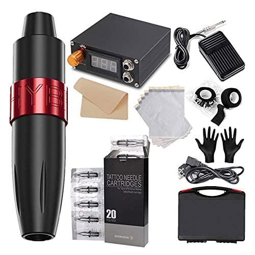 SEAAN Rotary Tattoo Pen Machine Kit para tatuadores, Tattoo Pen con accesorios completos y 20 cartuchos de agujas, Kit de máquina de tatuaje - potente, silencioso y estable a la velocidad