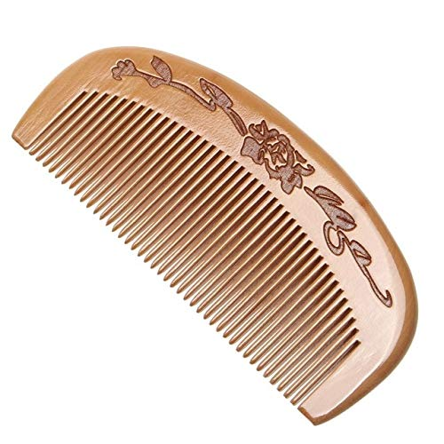 1 Uds Peine de Madera de melocotón Natural Dientes Cerrados antiestático desenredante Peine de Barba Cepillo de Cabeza de Masaje Herramientas para el Cuidado del Cabello para Viajes - 5