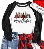 Merry Christmas Tree Shirts for Women 3/4 Sleeve Raglan Baseball Tee Funny Festival Tops (L, Black1)