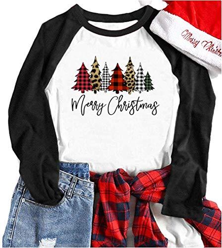 Merry Christmas Tree Shirts for Women 3/4 Sleeve Raglan Baseball Tee Funny Festival Tops (M, Black1)