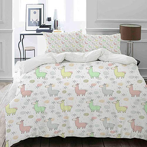 MIGAGA bedding - Duvet Cover Set, Colorful Pattern of Llamas with Doodle Style Circles and Heart Shapes Cartoon Style,Microfibre Duvet Cover Set135 x 200cmwith 2 Pillowcase 50 X 75cm