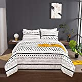 Wellboo Boho White Comforter Sets Queen Black and White Geometric Bedding Sets Black Striped Farmhouse Cotton Comforters Men Women Adult Modern Folkloric Quilts Full Lines Triangle Bedding Soft Health