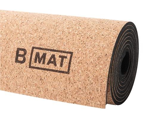 "B Yoga Natural Non Slip Cork 4mm B Mat - for Yoga, Hot Yoga, Bikram, Pilates, Workout and Floor Exercises, 72"" x 24"""