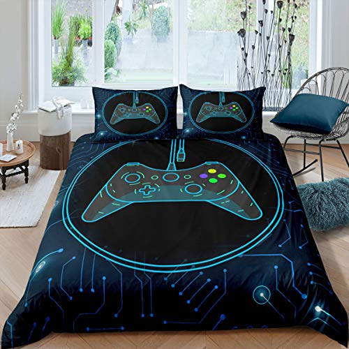 Teens Gamer Bedding Set Gamepad Duvet Cover High Tech Gaming Controller Comforter Cover Video Games Chip Circuit Quilt Cover Game Player Child Room Decor With 1 Pillow Case Single Size