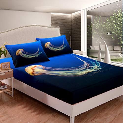 Juego de sábanas de medusas con temática de criatura oceánica para niños, niñas, adolescentes, mar subacuático, sábana bajera ajustable para decoración de habitación, tamaño individual