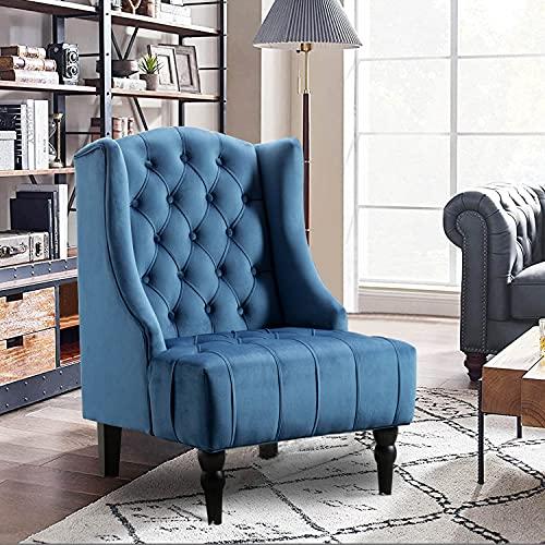 Altrobene Velvet Accent Chair, High Wingback Chair, Modern Living Room Bedroom Chair, Tufted Nailhead, Navy Blue