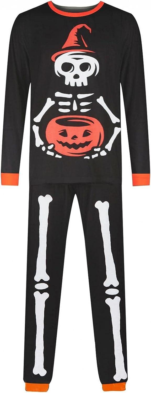 Matching Family Pajamas Sets Holiday Halloween Pumpkin Skeleton Printed Long Sleeve Tee Pants Sleepwear Pjs