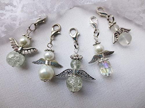 5 St. Engel, Schutzengel, Glasperlenengel, Perlenengel, weiß, kristall, Taufe, Mädchen, Geschenk, Weihnachten, Anhänger für Adventskalender