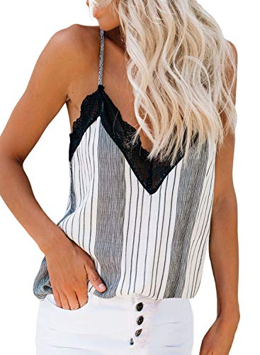 Happy Sailed Womens Casual Lace V Neck Strappy Cami Tank Tops Summer Sleeveless Stripes Shirts Blouses Medium Medium Stripe