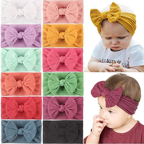 JOYOYO Baby-Stirnbänder mit Schleifen, breite Haarbänder, super dehnbar, weich, elastisch, Haarbänder und Haarschleifen, Baby-Haar-Zubehör