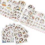 CRASPIRE Juego de Rollos de Cinta Washi, 10 Rollo de Cintas Adhesivas Decorativas, 12 Hoja de Pegatinas de Papel Washi, Bonito Diseño de Patrones de Gato, Cinta para Envolver Regalos para DIY