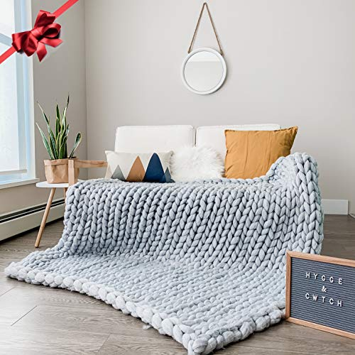 Chunky Knit Blanket | Hand Knitted Super Soft Giant Yarn Throw Blankets + Storage Bag | Vegan Wool...