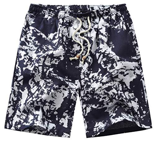 Pantalones Verano Hombres Moda Joven Pantalones De Playa Bermudas Estampadas Delgado Anchas Casual Pantalon Anchos Bermuda Elastische Taille Cordón Interno para (Color3,L)