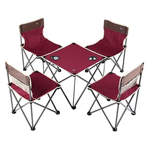 graceu portátil camping Juego de muebles–Mesa + 4silla plegable, ligero, robusto, plegable, picnic camping Pesca mesa silla con soporte para bebidas funda para camping senderismo Juego (roja)