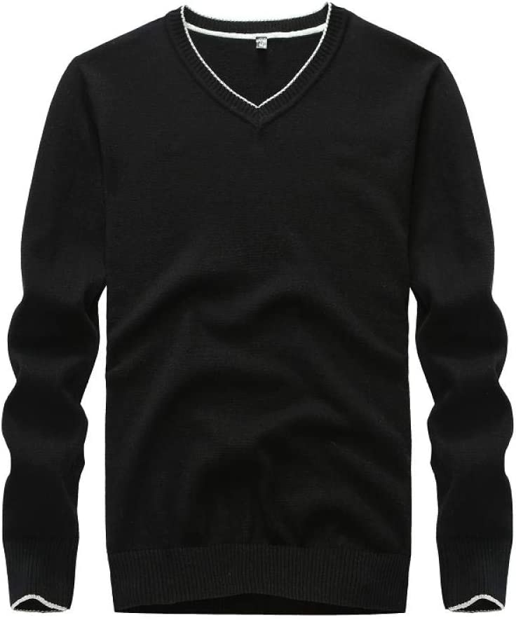 Sweater Men Cotton Solid Black Pullover Men Sweater Male , V-Neck Knitted Sweater Men 5 Colors Yellow Sweater Men Winter-China_Black_XXXL