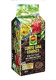 COMPO SANA COMPACT Qualitäts-Blumenerde mit 12 Wochen Dünger für alle Zimmer-, Balkon- und Gartenpflanzen, Kultursubstrat, 25 Liter, Braun