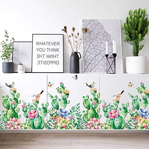 Etiqueta De La Pared Del Zócalo De La Flor Del Cactus Pared Protectora Decoración Del Hogar Etiqueta De La Pared Sala De Estar Cuarto De Baño Etiqueta Engomada De Los Muebles