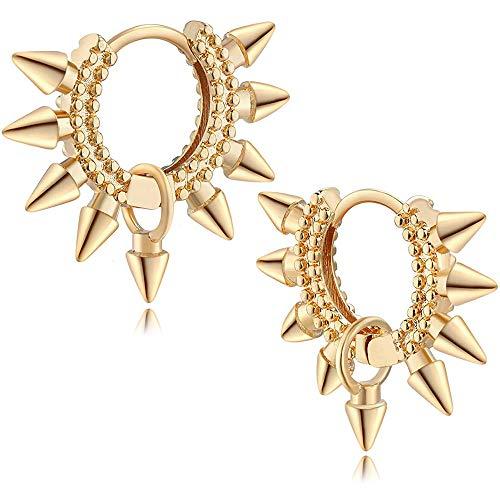 OSIANA Dainty Spike Huggie Hoop Earrings for Women 18K Gold Plated Classic Minimalist Spike Ear Cuff Cute Mini Drop Dangle Earrings Hypoallergenic Small Punk Jewelry Gift for Her