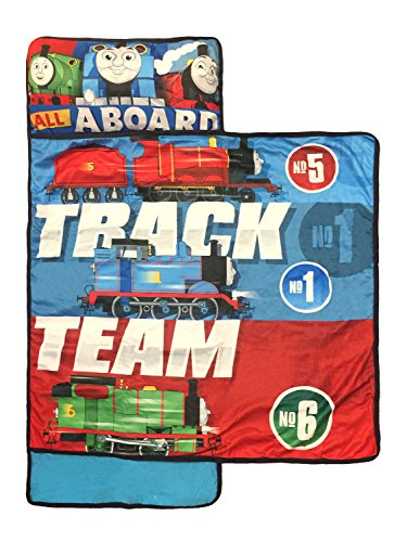 Nickelodeon Thomas & Friends Nap Mat - Built-in Pillow and Blanket Featuring Thomas, Percy, & James - Super Soft Microfiber Kids'/Toddler/Children's Bedding, Ages 3-5 (Official Nickelodeon Product)