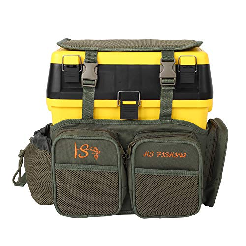 Q-HL Fishing Tackle Bag Boxes Backpack Multifunctional Fishing Seat Box And Backpack Converter Roving Fishing Stalking Carrier Accessory For Trout Fishing Outdoor Sports Camping Hiking - Yellow