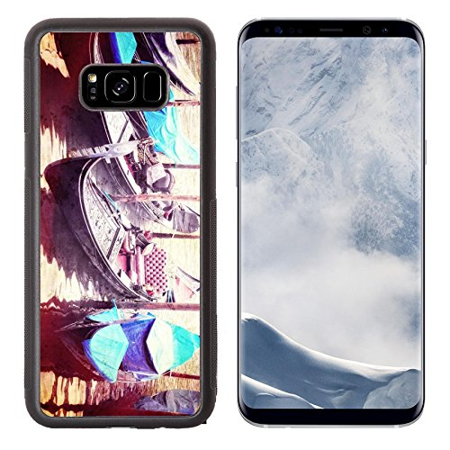 Liili Premium Samsung Galaxy S8 Plus Aluminum Backplate Bumper Snap Case Retro style image of Venice seafront with gondolas on the waves Venice Italy Photo 24168097 Simple Snap Carrying