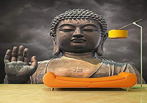 ZZXIAO Pared Pintado Papel tapiz 3D Estatua Buda pared