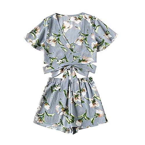2pcs Top a maniche corte stampato donne + shorts, familizo insieme di spiaggia verde verde Large