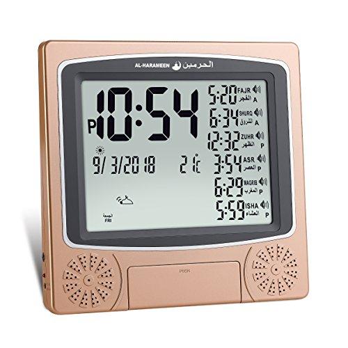 AL-HARAMEEN,Azan Clock/Prayer Times Table Clock/Muslim Digital Alarm,LCD HA-4010 (Gold)