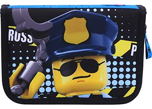 LEGO Bags Federmäppchen City, Federmappe 20 teilig gefüllt, Federtasche mit Lego Motiv, Stiftebox blau, Schüleretui mit Inhalt, Schul Etui mit Namensfeld, Stundenplan, Lineal und Anspitzer