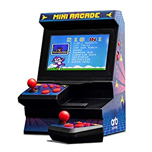 Monsterzeug Retro Mini Spielautomat mit Dual-Controller, Arcade Automat, Mini Spielekonsole, 80er Jahre Spieleautomat, Multiplayer, USK 6