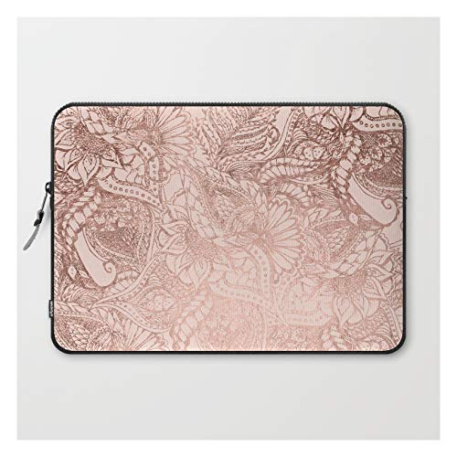 Laptop Sleeve - Laptop Sleeve - 15' - Modern Rose Gold Floral Illustration On Blush Pink by Girly T