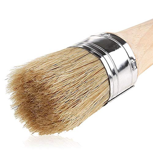 MissZZ Chalk Paint Brush for Painting and Waxing | 40mm Natural Bristle Round Wax Brush for Furniture Painting, Perfect for Furniture Stencils Wood Home Decor