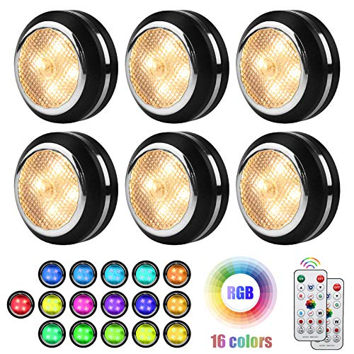Battery Operated Lights MFOX Under Cabinet Lighting, Puck Lights with 2 Remote Control 6 Pack and LED Color Changing Wireless Ceiling Light with Timer, Dimmable Closet Lights, Led Lights for Bedroom.