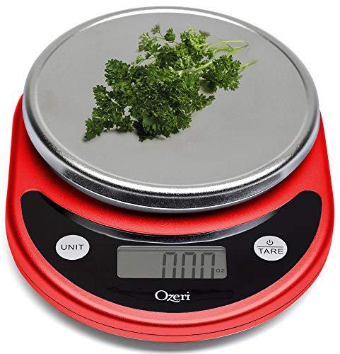 Ozeri Balança digital multifuncional ZK14-R Pronto para cozinha e alimentos. vermelha