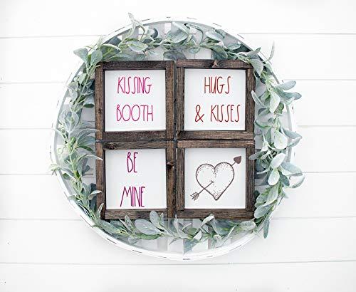 Yor242len Señal de San Valentín, decoración del día de San Valentín, señal de San Valentín, bandeja escalonada de San Valentín, señal de Be Mine, señal de abrazos y besos, cabina de besos
