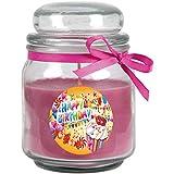 HS Candle Duftkerze im Glas - Happy Birthday Bonbon mittel - Duft: Lavendel - Design: Cupcake