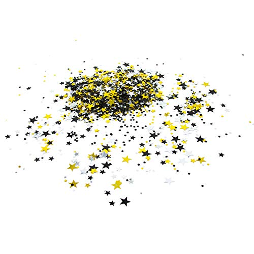 Oblique Unique® Konfetti Sterne Gold Schwarz Silber über 300 Stk. Stern Streu Deko Tisch Deko Streuteile Geburtstag Silvester Party