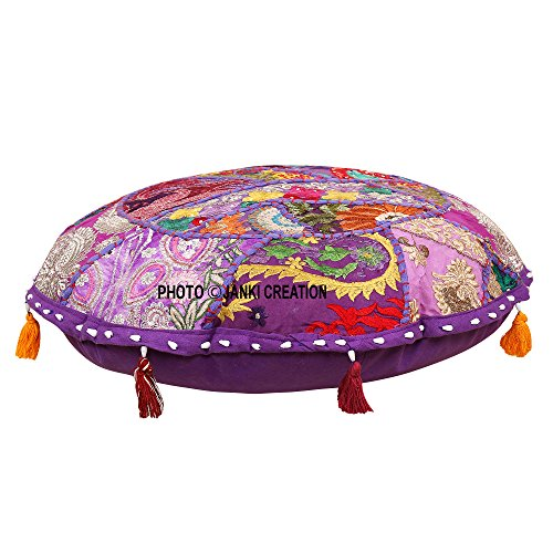 Funda de cojín redondo de algodón para suelo, diseño vintage bordado de patchwork, 53 cm, para suelos indios o camuflaje, 53 cm, diseño bohemio