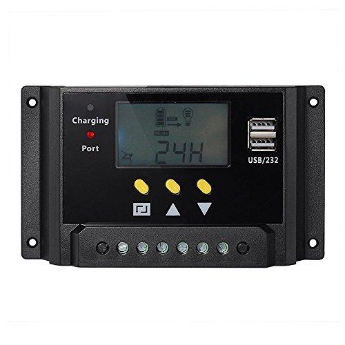 Signstek Solar Panel Regler Laderegler 12V / 24V 240W/480W 30A PWM LCD Display mit Dual USB für Camper/Wohnwagen/Boot (Deutsche Bedienungsanleitung)