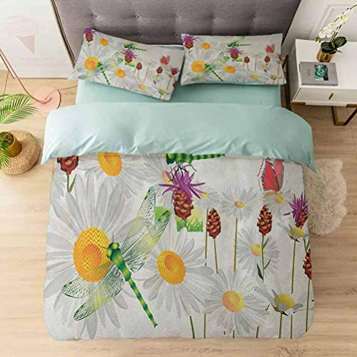 Aishare Store 3 Pieces Duvet Cover Set, Daisy Flower Field with Chamomile and Butterflies Grassland Nature Desig, Printed Duvet Cover Set with Ultra-Soft Microfiber, Fern Green White