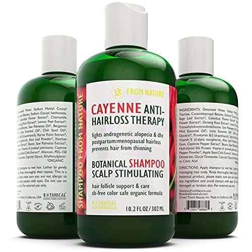 BOTANICAL HAIR GROWTH LAB - Cayenne Hair Loss Therapy - Shampoo From Nature - Scalp Stimulating Shampoo - Hair Thinning Alopecia Postpartum DHT Blocker - 10.2 Oz