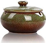 ETDWA Ceniceros de cerámica con Tapa Cenicero de Cigarrillos Retro para Uso en Interiores o...