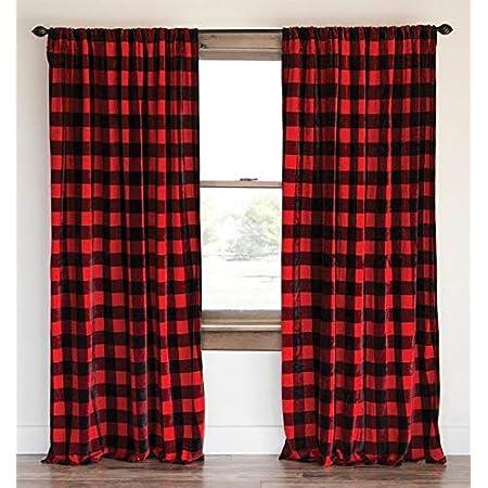 Sweet Jojo Designs Woodland Buffalo Plaid Window Treatment Panels Curtains Set Of 2 Red And Black Rustic Country Lumberjack Baby