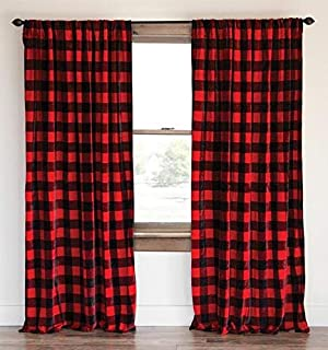 lovemyfabric Buffalo Checkered 100% Polyester Curtain Window Treatment/Decor Panel Country Style- Black and Red (1, 56