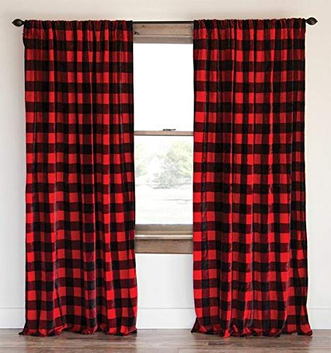 "lovemyfabric Buffalo Checkered 100% Polyester Curtain Window Treatment/Decor Panel Country Style- Black and Red (2, 56""X63"")"