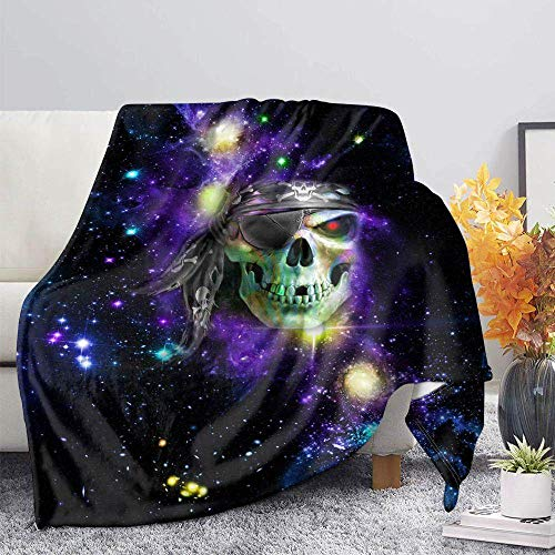 ZGZZD Sofa Throw Blankets,Winter Soft Warm 3D Print Sofa Throw Blanket Chic Colorful Starry Skull Animal Printed King Size Fluffy Blanket For Bed Couch Camping Travel,110X140Cm