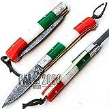 SBTB-9424 coltello da tasca pieghevole in acciaio damasco personalizzato con fodero in cuoio 18 cm manico bandiera italiana manico in osso di cammello macchiato camping chef cucina pesca casa